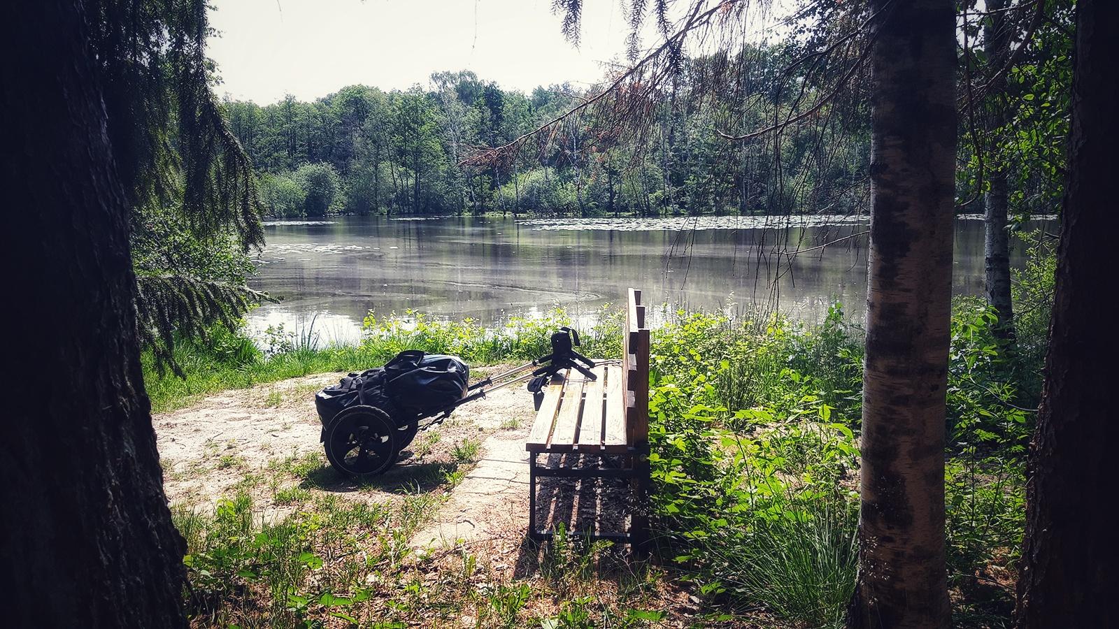 Sitzbank mit Pilgerwagen an einem Waldsee